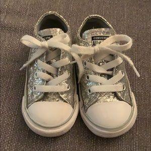 Silver glitter converse size 6